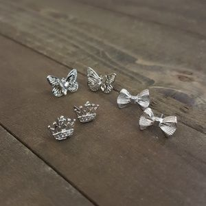 Jewelry - 🌟 Princess Butterfly Bow Silver Dainty Earrings